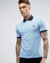 Fred Perry Laurel Wreath Fred Perry Reissues Polo Contrast Rib In Sky Blue/navy
