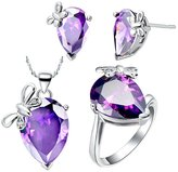 Babao Jewelry Jewelry Sets Babao Jewelry Unique Butterfly Purple Drop 18K Platinum Plated Cubic Zirconia Crystals Pendant Necklace Earrings Set with 925 Sterling Silver Necklace Ring Size 7