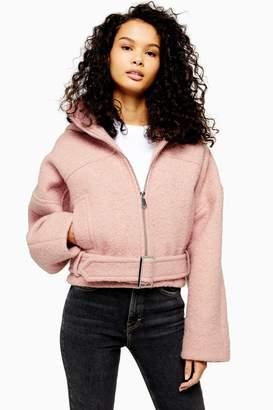 Topshop Womens Wool Rich Hooded Jacket - Pink