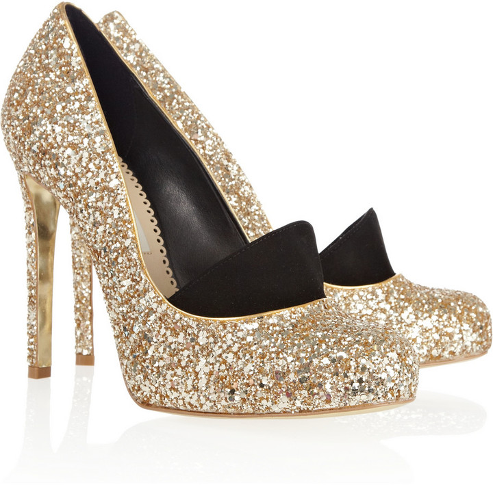 Stella McCartney Glitter-finished faux leather pumps