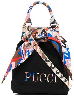 Emilio Pucci Abstract-Print Trim Bucket Bag