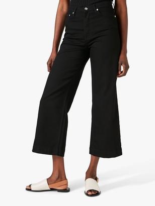 Jigsaw Wide Leg Cropped Jeans, Black