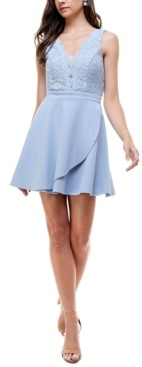 City Studios Juniors' Lace-Top Fit & Flare Dress