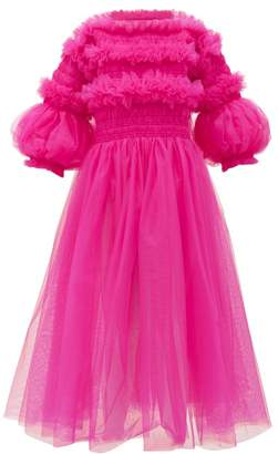 Molly Goddard Tracy Shirred Tulle Dress - Womens - Pink