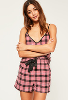 Missguided Pink Checked Cami Pyjama Set