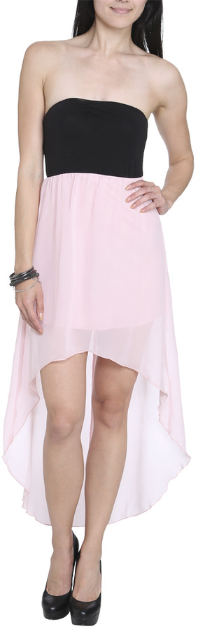 Wet Seal Knit Chiffon High-Low Dress