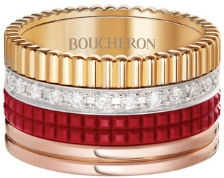Boucheron Mixed Gold and Diamond Quatre Red Edition Ring