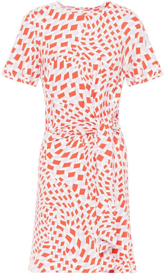Diane von Furstenberg Knotted Printed Stretch-jersey Mini Dress