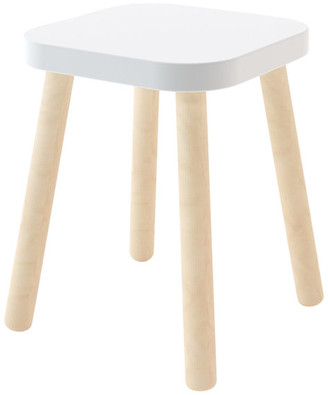 Oeuf Square Stool, Birch and White