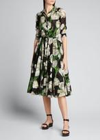 Samantha Sung Aster Dutch Tulip 1/2-Sleeve Belted Midi Dress