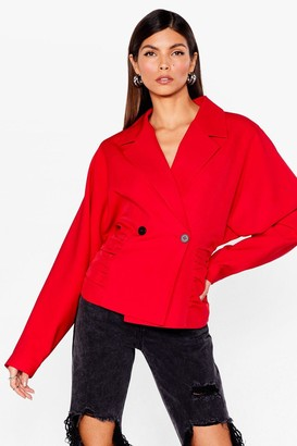 Nasty Gal Womens Business Minded Ruched Double Breasted Blazer - Red