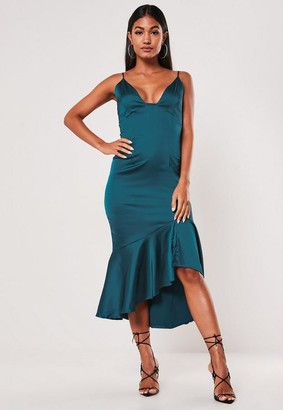 Missguided Teal Satin Ruffle Hem Slip Midi Dress