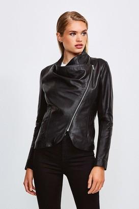 Karen Millen Leather and Ponte Envelope Neck Biker Jacket