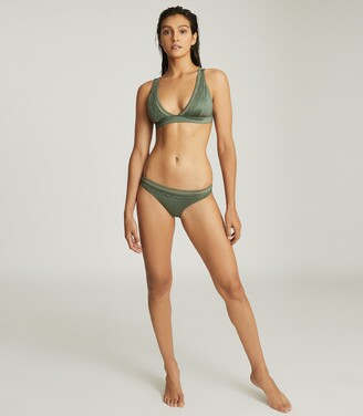 Reiss Della - Cutwork Trim Bikini Top in Khaki