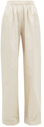Hillier Bartley Paisley-jacquard Cotton Wide-leg Trousers - Womens - Cream