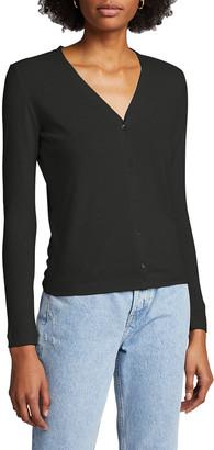 Majestic Filatures V-Neck Button-Front Cotton-Blend Cardigan