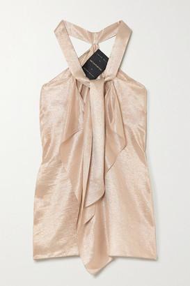 Roland Mouret Pontal Tie-detailed Metallic Silk-blend Top - Rose gold