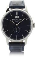 Locman 1960 Silver Stainless Steel Men's Watch w/Dark Blue Croco Embossed Leather Strap