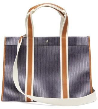 Rue De Verneuil - Traveller L Leather-trimmed Striped-canvas Bag - Navy Multi