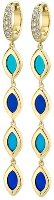 Andy Lif 18kt Yellow Gold Cat's Eye Links Two Tone Blue Enamel Huggie Drop Earrings