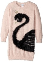 Little Marc Jacobs Knitted Swan Illustration Long Sleeve Dress Girl's Dress