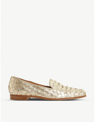 Dune Gabbies woven metallic leather loafers