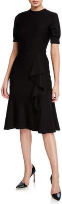Shoshanna Belva Stretch Knit Crewneck Short-Sleeve A-Line Dress