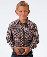Roper Brown & Orange Plaid Button-Up - Boys