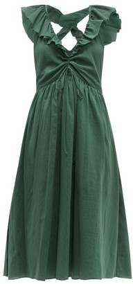 Loup Charmant Naxos Ruffled Cotton Dress - Womens - Green