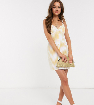 ASOS DESIGN Petite button through cupped sundress in white stripe