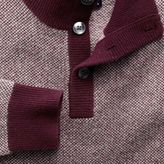 Charles Tyrwhitt Wine jacquard button neck jumper