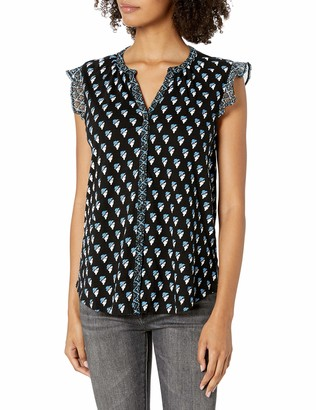 Lucky Brand Women's Sleeveless Button Up Woodblock Printed Top