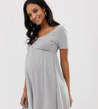 Asos DESIGN Maternity scoop neck mini button front smock dress-Gray