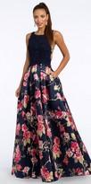 Camille La Vie V Back Mock Two Piece Beaded Applique Evening Dress
