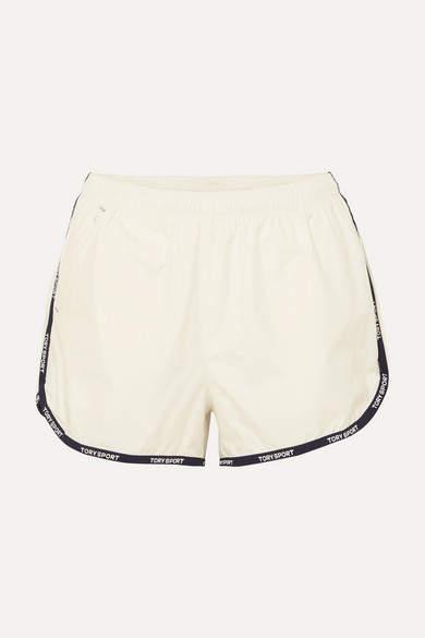 Tory Sport Banner Striped Shell Shorts - White