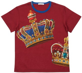 Dolce & Gabbana Crown Printed Cotton Jersey T-shirt