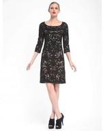 Sue Wong Embroidered Bateau Neck Column Dress N5344