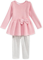 First Impressions Baby Girls' 2-Pc. Long-Sleeve Peplum Bow Sweater & Leggings Set, Only at Macy's