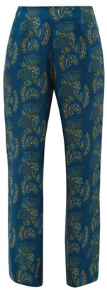ZEUS + DIONE Themis Fan-print Silk-twill Trousers - Blue Multi