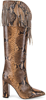 Paris Texas Python Western Fringe Boot in Camel | FWRD