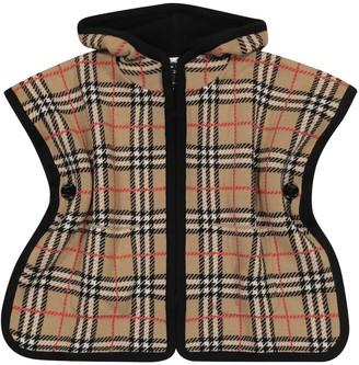 BURBERRY KIDS Baby checked merino wool poncho