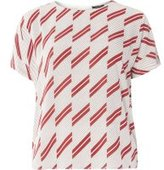 Dorothy Perkins Womens Red And Ivory Stripe Soft T-Shirt- Red