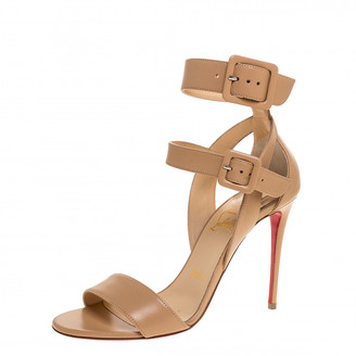 Christian Louboutin Beige Leather Multipot Ankle Strap Sandals Size 37.5