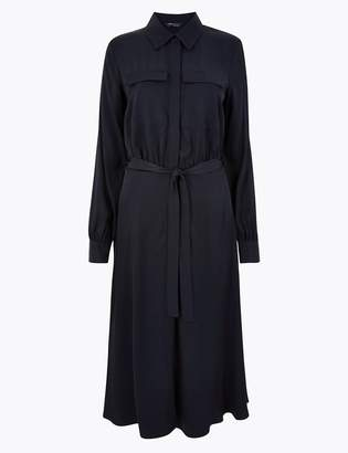 Marks and Spencer Tie Front Shirt Midi Dress