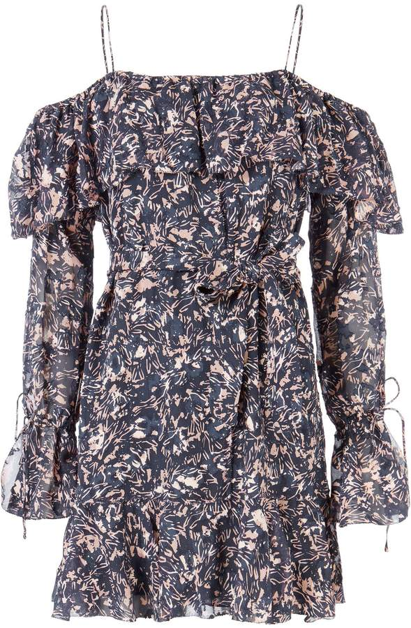 Derek Lam 10 Crosby Off Shoulder Printed Mini Dress
