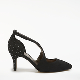 John Lewis Blair Cross Strap Pointed Toe Court Shoes, Black