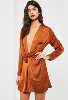 Missguided Orange Satin Wrap Mini Dress