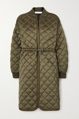See by Chloe Quilted Satin Coat - Army green