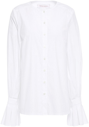 Carolina Herrera Fluted Cotton-blend Poplin Shirt