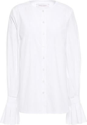 Carolina Herrera Fluted Cotton-blend Poplin Shirt